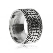 Stříbrný prsten - Široký zdobený kruh
