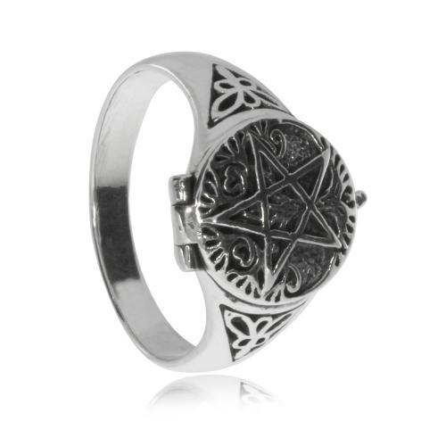 Stříbrný prsten - Otvírací pentagram\nStříbrný prsten - Otevírací pentagram