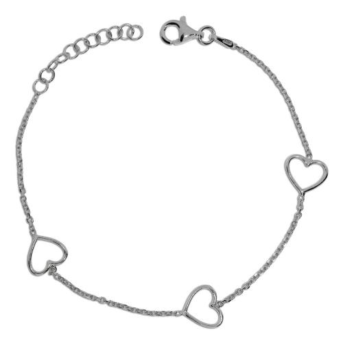 Stříbrný náramek - Srdíčka na řetízku