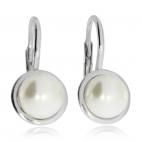 Stříbrné náušnice - Kulatá synteticná perla