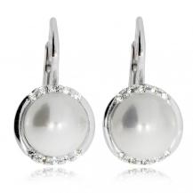 Náušnice ze stříbra - Syntetická perla s kamínky