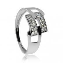 Stříbrný prsten - Cubic zirconia\nStříbrný prsten - Dvě řady zirkonů (cubic zirconia