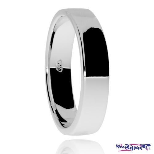 Stříbrný snubní prsten, širší rovné hrany