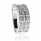 Stříbrný rhodiovaný prsten se zirkony(kubická zirkonie) a zdobnými průřezy