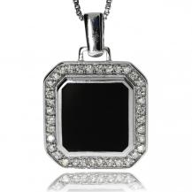 Stříbrný přívěsek se zirkony (kubická zirkonie) a černým emailovým čtvercem