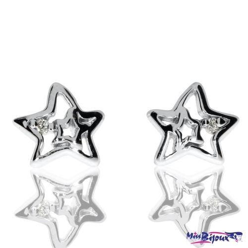 Stříbrné náušnice se zirkonem (cubic zirconia) ve tvaru hvězdičky