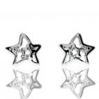Stříbrné náušnice se zirkonem (cubic zirconia) ve tvaru hvězdičky v povrchové úpravě rhodiované stříbro